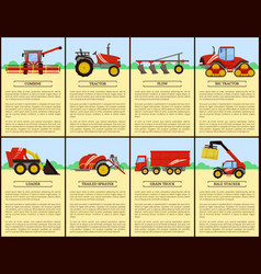 Tractor and combine set poster vector