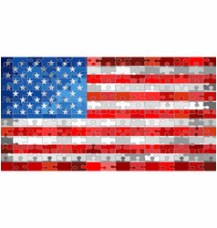 usa flag made of puzzle background vector image