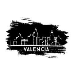 valencia spain city skyline silhouette hand drawn vector image