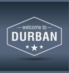 welcome to durban hexagonal white vintage label vector image