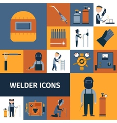 Welder Icons Set vector image