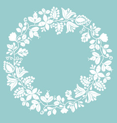 white laurel wreath frame on pastel mint green vector image