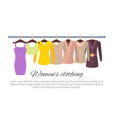 womens clothing poster with fashionable apparel vector image
