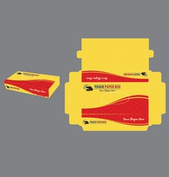 Yellow and red and tissue paper box vector