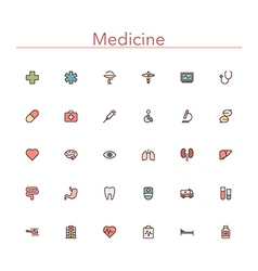 Medicine Colored Line Icons vector image