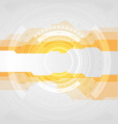 orange and grey tech abstract gear hud graphic vector image