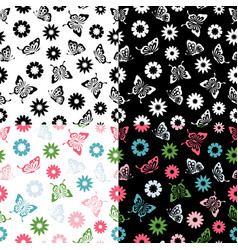 set butterflies seamless pattern flowers vector image vector image
