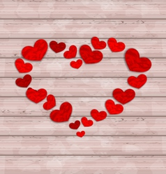 Wooden background with frame made in hearts for vector image vector image