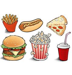 fast food items-hamburger fries hotdog vector image