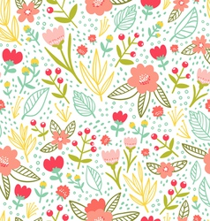 Fun floral repeat pattern vector image vector image
