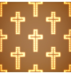Glowing religious crosses seamless pattern vector image vector image