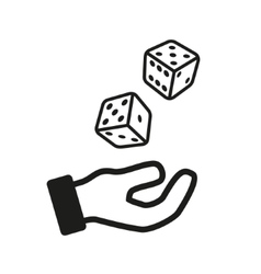 Male hand rolling dice isolated on white vector image vector image