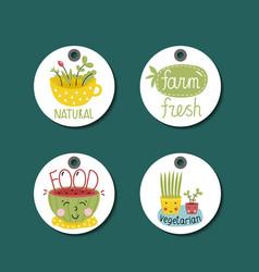 Organic eco and bio food labels set vector