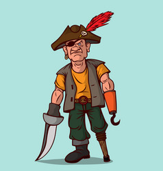 Pirate with a sword on a wooden leg instead of vector
