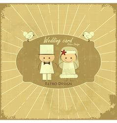 Retro Design Wedding Card vector image vector image