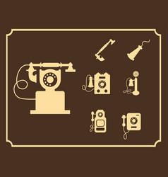 retro phone icon set vintage light icons vector image vector image