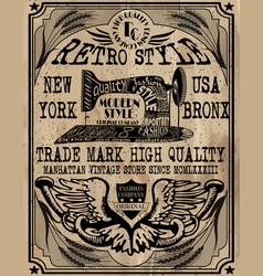vintage label design tee graphic vector image
