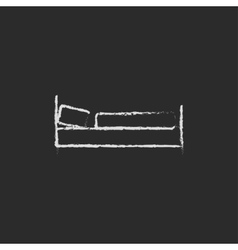 Bed icon drawn in chalk vector image vector image