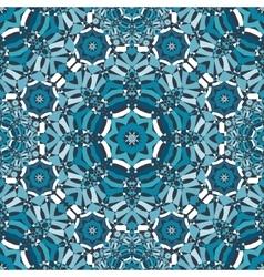 blue floral kaleidoscope pattern vector image vector image