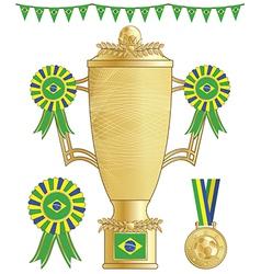 brazil soccer trophy vector image vector image