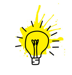 light bulb sketch with concept of idea doodle vector image