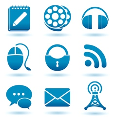 madia icons blue vector image vector image