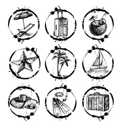 Travel and vacation stamp collection vector image