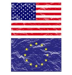 usa and euro flag vector image