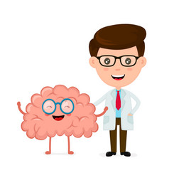 cute funny smiling doctor and healthy happy brain vector image