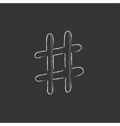 Hashtag symbol Drawn in chalk icon vector image