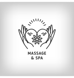 massage and spa therapy logo template thin vector image vector image