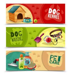 pet care 3 horizontal banners set vector image