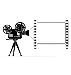 An old film projector on a tripod frame vector