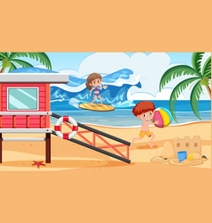 Background scene with boy and girl on beach vector
