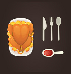 baked turkey with orange for thanksgiving day in vector image