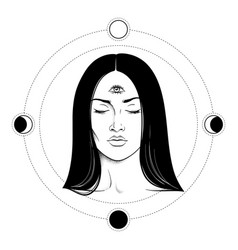 beautiful brunette woman with third eye vector image