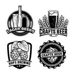 beer badge design set vector image