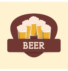 Beer glasses drink label vector