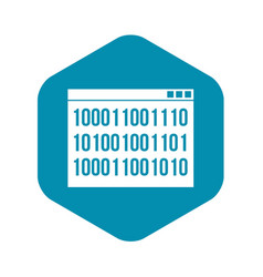 binary code icon simple style vector image