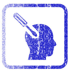 Brain tool framed textured icon vector