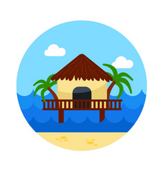 bungalow with palm trees icon summer vacation vector image