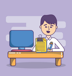 business office employee workspace cartoon vector image