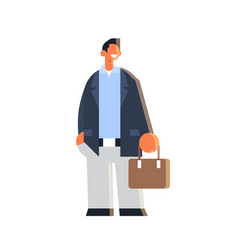 businessman holding suitcase happy business man vector image