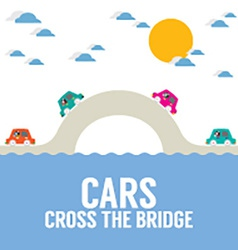 Cars Cross The Bridge Over The River vector