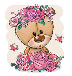 Cartoon bear with flowers on a white background vector