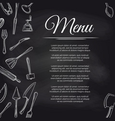 chalkboard menu poster with kitchen utensils vector image vector image