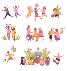 child protection flat icon set vector image