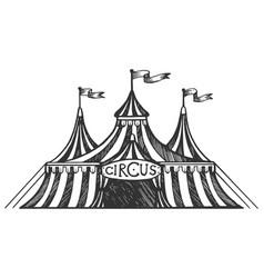 Circus tent engraving vector
