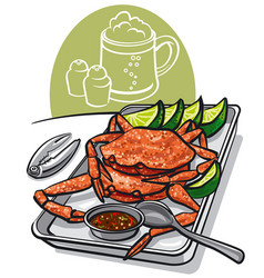 cooked seafood crabs vector image