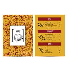 Creative fast food menu with hand drawn graphic vector